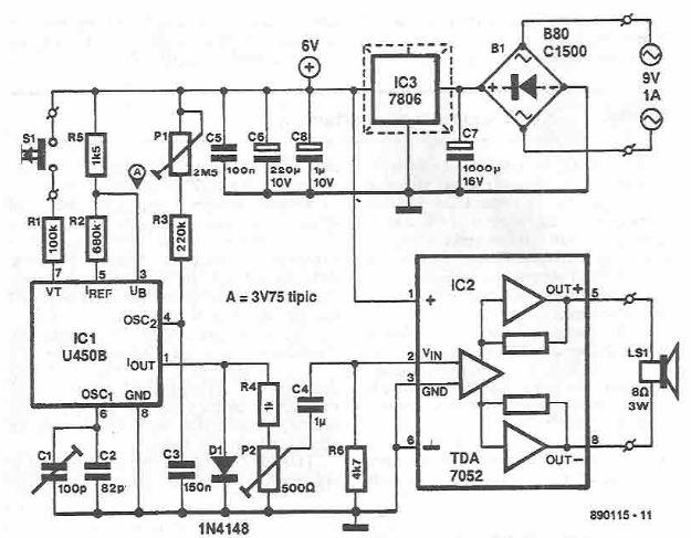 Schema sonerie electronica cu U450B