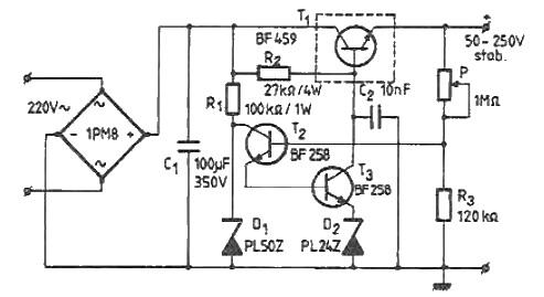 schema stabilizator tensiune 50-250 volti