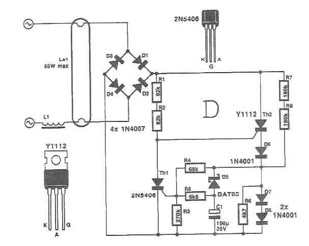 Schema starter electronic pentru tuburi neon