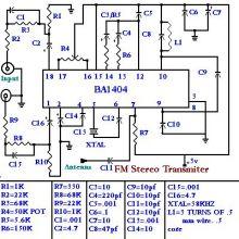 schema BA1404 emitator FM cu circuit integrat