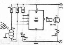 schema Circuit pentru iluminare cu autodeconectare
