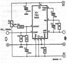schema electronica Convertor frecventa tensiune cu TSC9402
