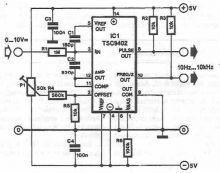 schema electronica Convertor tensiune frecventa cu TSC9402
