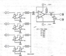 schema electronica Mixer audio cu amplificator operational