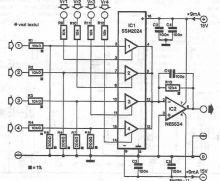Schema mixer audio cu patru canale cu SSM2024