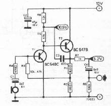 Schema Preamplificator de microfon cu tranzistori