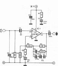 Schema electronica preamplificator de microfon dinamic cu LM387