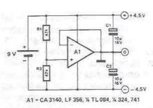 Schema electronica sursa de tensiune dubla simetrica