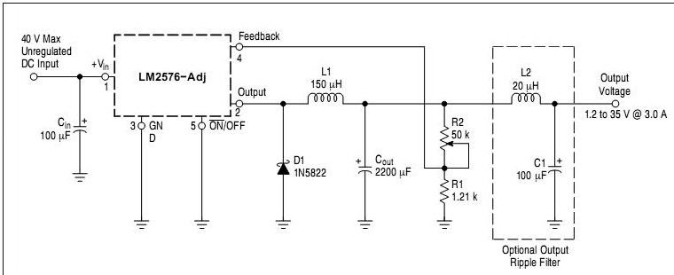 Schema electronica LM2576 sursa reglabila laborator