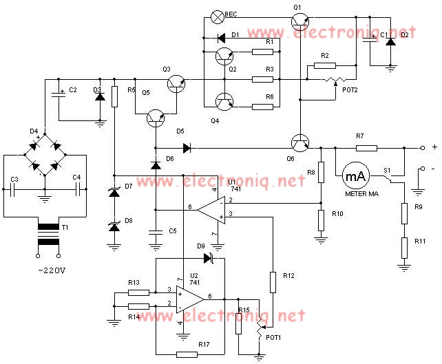 Sursa stabilizata reglabila de putere cu tranzistori