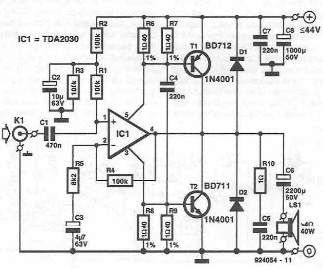 schema TDA2030 amplificator audio 40W