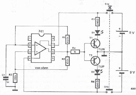 schema electronica Tester amplificator operational