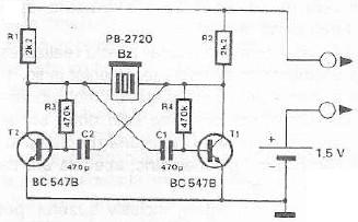 Schema electronica tester de continuitate cu buzzer