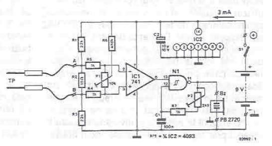 schema electronica Tester continuitate cu amplificator operational 741