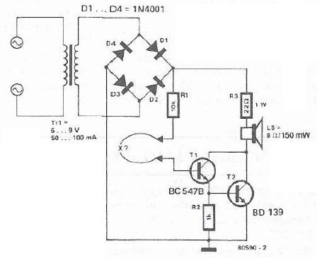 Schema electronica tester de continuitate