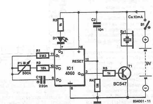 schema Timer electronic cu alarma