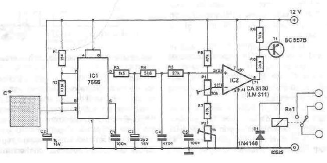 schema electronica Comutator cu senzor capacitiv cu timer 555